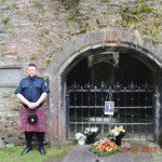 Rob McFadyen at Viscount Dundee grave side, St. Brides Kirk, Blair Atholl
