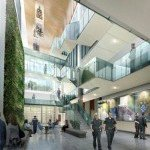Artist's rendering of new headquarters atrium