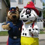 SPS and SFPS Mascots Sarge and Sparky at Juniper Housing BBQ Block Party 2012